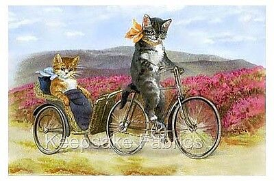 Sweet Cats Bicycle Ride For Two Quilt Block FrEE ShiPpiNG WoRld WiDE c