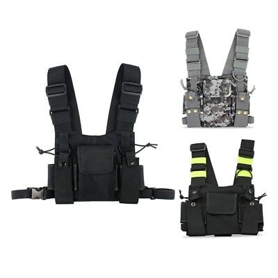 1X(Radios Pocket Radio Chest Harness Chest Front Pack Pouch Holster Vest RiZ5L5)