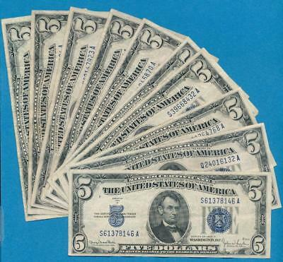 10-$5.00 1934 Mixed Blue Seal Silver Certificate Average Circulated Dealers Lot