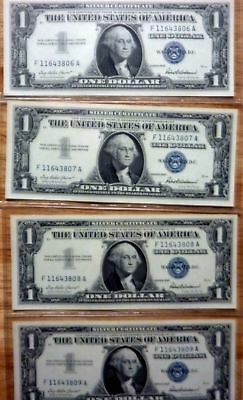 lot of 4 1957 Silver Certificate 1.00 notes CU in consecutive serial numbers !!!