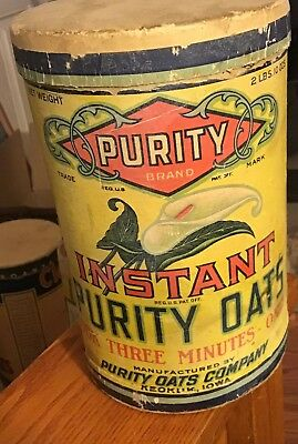 VINTAGE PURITY INSTANT OATS BOX KEOKUK IOWA Rolled