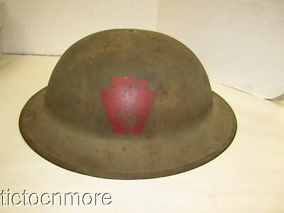 US WWI ARMY 27tH INFANTRY DOUGHBOY SOLDIERS STEEL COMBAT HELMET ZH86 W/ LINER