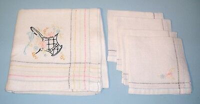 Vintage Linen Tablecloth + Napkins SET Pastel Colors Topper Luncheon