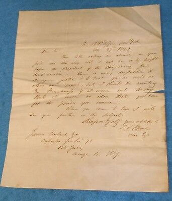 1847 Stampless Letter ERIE RAILROAD CONSTRUCTION Port Jervis NY *  Freeland