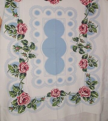 "Vintage Floral Print Tablecloth Pink White Blue 63"" x 52"" Oblong"