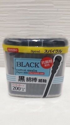NEW DAISO JAPAN Cotton Swab Ear Cleaning Black Paper stick