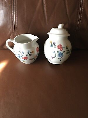 Laura Ashley Staffordshire' Chinese Silk' Floral Milk Jug& Lidded Sugar Bowl