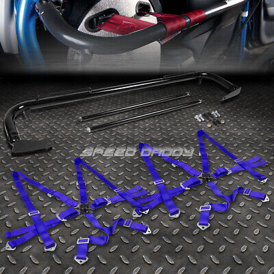 """Black 49""""stainless Steel Chassis Harness Bar+Blue 6-Pt Strap Camlock Seat Belt"""