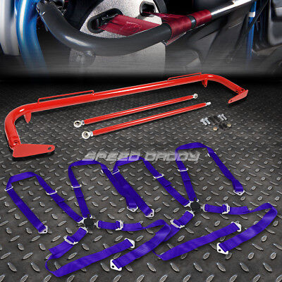 """Red 49""""stainless Steel Chassis Harness Bar+Blue 4-Pt Strap Camlock Seat Belt"""