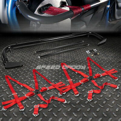 """Black 49""""stainless Steel Chassis Harness Bar+Red 6-Pt Strap Camlock Seat Belt"""