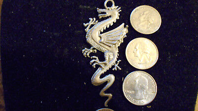 bling pewter MYTH LEGEND FIRE DRAGON goth FASHION pendant charm necklace JEWELRY