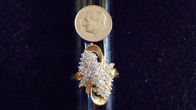 bling gold plated women CZ fashion COCKTAIL cluster ring hip hop JEWELRY GP sz 5