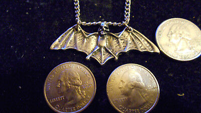 bling pewter bat WITCH myth GOTHIC fashion vampire pendant charm chain necklace