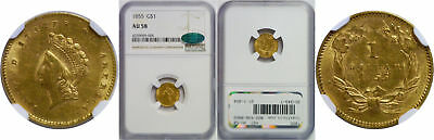 1855 $1 Gold Coin NGC AU-58 CAC