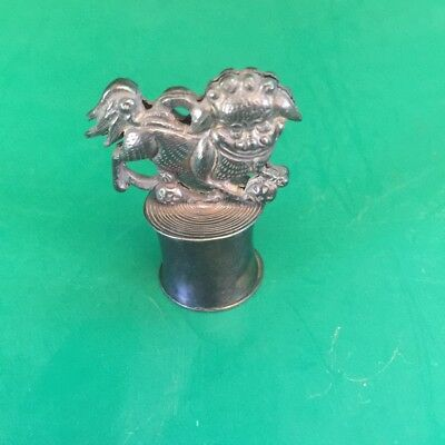 Superb Antique Silver Pill/poison Box With Chinese Lion Century 19 Th Very Rare