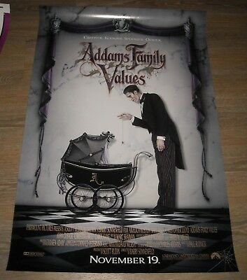 Rolled 1993 Addams Family Values Teaser 1 Sheet Movie Poster Nice Art 2 Sided