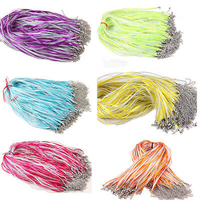 20Pcs Organza Voile String Ribbon Cord Necklace Lobster Clasp Chain Findings DIY