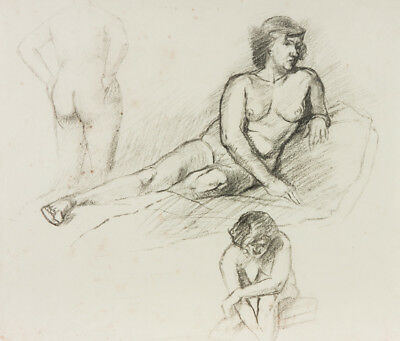 Mid 20th Century Graphite Drawing - Reclining Nude