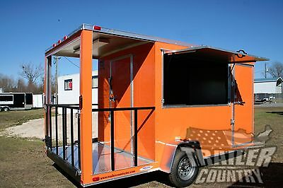 NEW 7x14 14' ENCLOSED CONCESSION FOOD VENDING BBQ MOBILE KITCHEN TRAILER PORCH