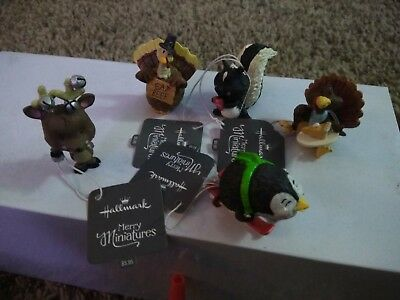 Hallmark Merry Miniatures Christmas and Thanksgiving Figures Lot Of 5