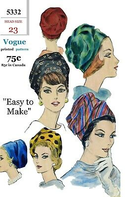 """Vogue #5332 TURBAN Hat Cap Fabric Sewing Pattern Chemo Cancer Alopecia 23"""" Easy"""