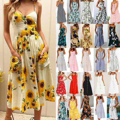 Womens Summer Sunflower Floral Print Midi Dress Straps With Pocket Holiday Dress