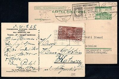 POLAND , 1929 , 1939 ,  TWO nice cards from Katowice  and Poznan , Look !
