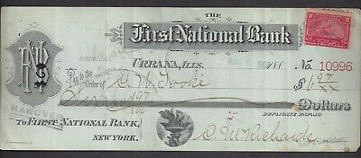 "1900 Urbana Illinois Bank Draft ""Torch"""