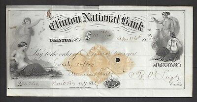 "1874 Clinton New Jersey Bank Draft RN-D1 ""Maids"""