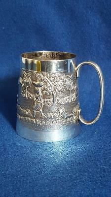 Terrific Late Raj 1920s Calcutta Sterling Silver Repousse Christening Mug 140g