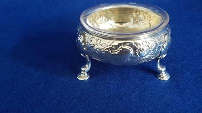 Superb Antique Georgian HM Sterling Silver Open Salt Cellar w Liner 62g Ldn 1795