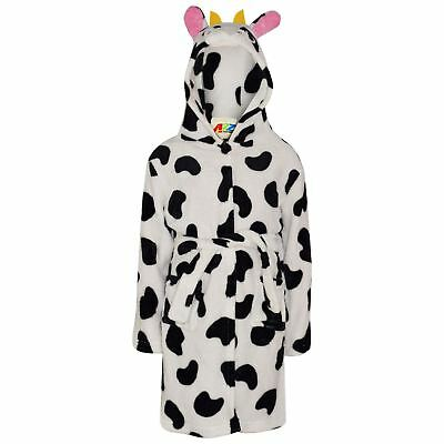 Kids Girls Bathrobe 3D Animal Cow Fleece Dressing Gown Nightwear Loungewear 2-13