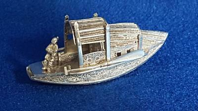 C. 1930s Art Deco Chinese Export Sterling Silver Fisherman & Boat Cabinet Figure