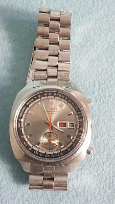 Late 60s Seiko Pulsations 6139-6020 Chronograph Wristwatch Day Date Second Dial