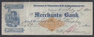 1901 Newport & Wickford(RI) RR & Steamboat Check RN-X7