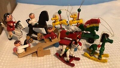 Nice mixed lot of vintage Wooden horse Christmas Ornaments