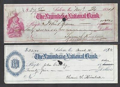 2 Salem Massachusetts Bank Checks 1884