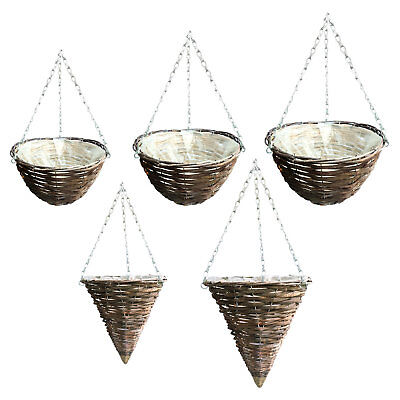 """Rattan 11"""" - 16"""" Natural Wicker Hanging Basket Round Cone Plastic Lined"""