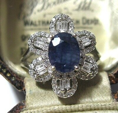 Sterling SILVER Real Sapphire 7cts Gem Stone RING Size P Vintage Style Art Deco
