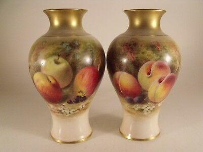 A Fine Pair of Royal Worcester Ricketts Fruit Painted Vases - Shape Number 2471