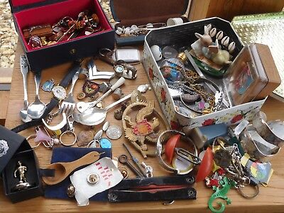 Lovely Huge Mixed JOB Lot of Assorted Vintage Items coins watches badges etc