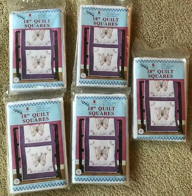 Lot Of Five Jack Dempsey Needle Art Quilt Blocks Butterfly New In Packages