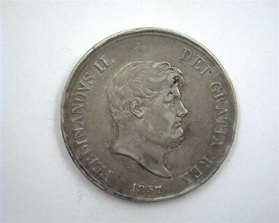Naples 1857 Silver 120 Grana -Italian State- About Uncirculated  Km#370