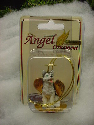 HUSKY Black & White blue eye dog ANGEL Ornament HAND PAINTED FIGURINE Christmas