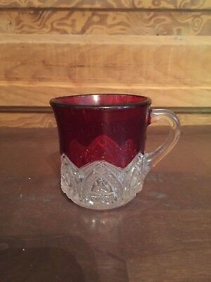 Antique Ruby Flashed Glass Cup Souvenir Of Amana Iowa