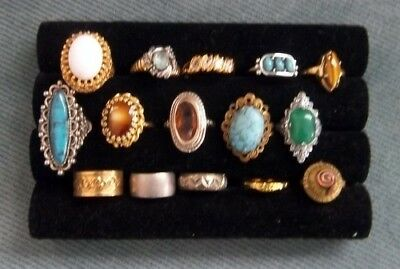 15 Vintage Costume Jewelry Rings Tiger Eye Turquoise Various Stones