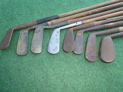 8 Vintage Hickory clubs in poor condition all need work old golf memorabilia
