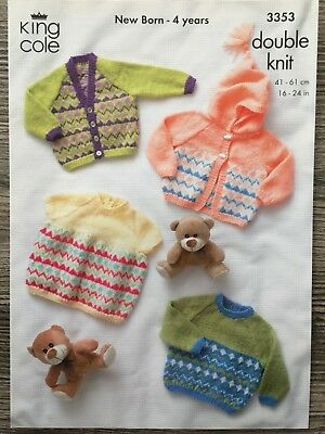 "King Cole Knitting Pattern: Baby & Child's Sweater & Cardigans, DK, 16-24"""" 3353"
