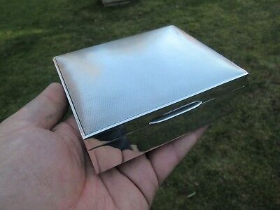 Silver Hallmarked Cigarette Box Assayed Chester 1947 Engine Turned Lid Ex Cond