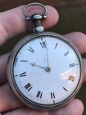 A Gents Very Old Antique Silver Pair Cased Fusee Bulls Eye Glass Pocket Watch..